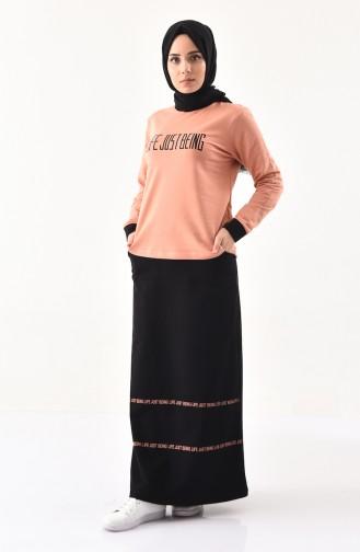 Baskılı Spor Bluz Etek İkili Takım 8370-03 Somon