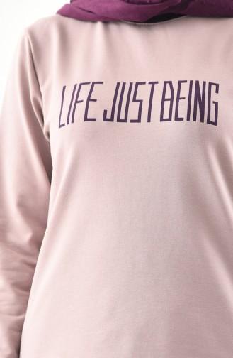 Baskılı Spor Bluz Etek İkili Takım 8370-05 Açık Lila Mor
