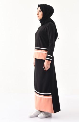 بي وست طقم تنورة وبلوز بتصميم مُخطط8371-05 لون اسود 8371-05