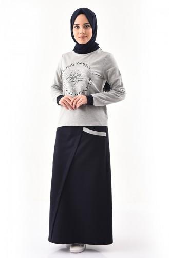 بي وست طقم تنورة وبلوز بتصميم مُطبع 8385-02 لون رمادي 8385-02
