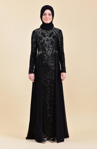 فستان سهرة بتفاصيل من الترتر 52742-01 لون اسود 52742-01