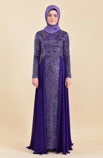 فستان سهرة بتفاصيل من الترتر 52742-02 لون بنفسجي 52742-02