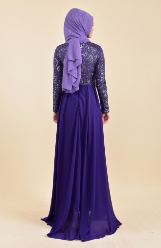 Sequined Evening Dress 52742-02 Purple 52742-02
