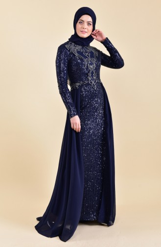 Sequined Evening Dress 52742-05 Navy 52742-05