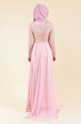 Sequined Evening Dress 52742-06 Salmon 52742-06