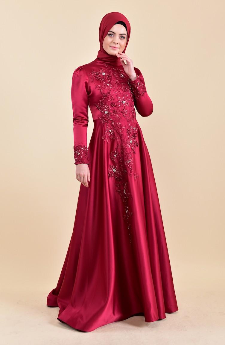 b88e6f71aeb Robe de Soirée Perlées 6156-01 Rouge 6156-01