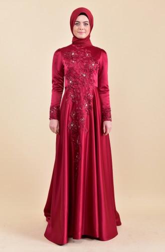 فستان سهرة بتفاصيل مطرزة وخرز 6156-01 لون احمر 6156-01