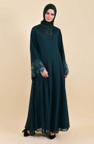 Taş Baskılı Abiye Elbise 8426-01 Zümrüt Yeşili