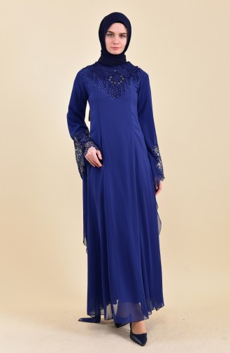 Robe de Soirée Perlées 8426-03 Bleu Marine 8426-03