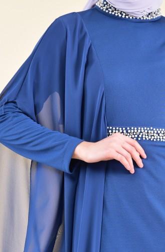Pearls Evening Dress 3711-01 İndigo 3711-01