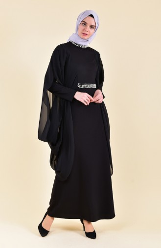 Robe de Soirée Perlées 3711-02 Noir 3711-02