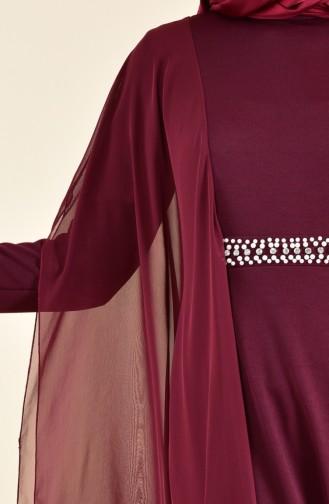 Robe de Soirée Perlées 3711-03 Bordeaux 3711-03