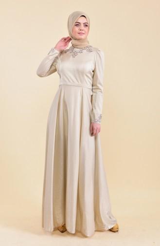 Taşlı Abiye Elbise 7059-01 Bej