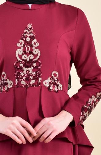 Robe de Soirée Détail Paillettes 8443-01 Bordeaux 8443-01