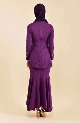Pailletten detailliertes Abendkleid 8443-02 Lila 8443-02
