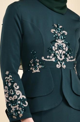 Robe de Soirée Détail Paillettes 8443-03 Vert emeraude 8443-03