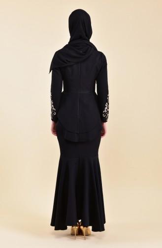 مس فالي  فستان بتفاصيل من الترتر 8443-04 لون اسود 8443-04