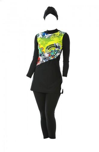 Printed Hijab Swimsuit 0338-01 Yellow Black 0338-01