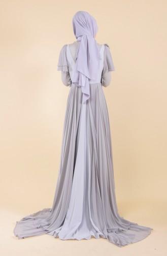 Flower Brooch Evening Dress 7024-02 Gray 7024-02