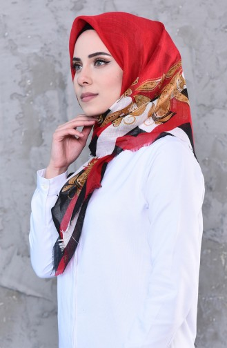 Patterned Cotton Shawl 901452-12 Red light Beige 901452-12