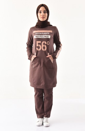 Cepli Eşofman Takım 8390-05 Kahverengi
