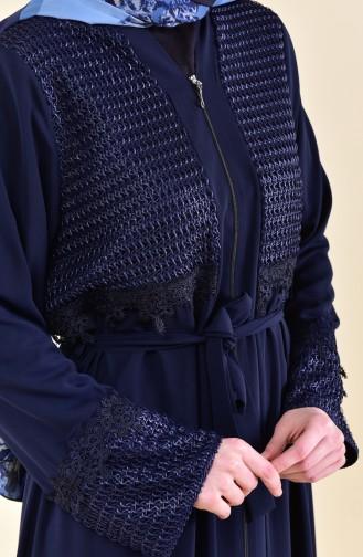 Abaya a Ceinture Détail Dentelle 7824-03 Bleu Marine 7824-03