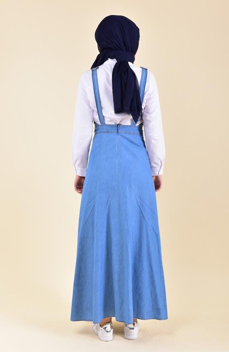 9fff9473cdb Robe Salopette Jean avec Poches 9061-01 Bleu Jean 9061-01