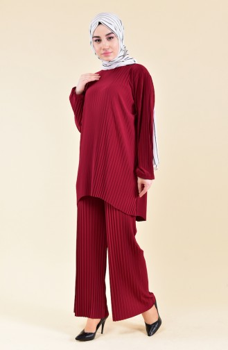 Pleated Tunic Pants Binary Suit 189912-01 Claret Red 189912-01