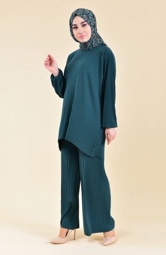 Piliseli Tunik Pantolon İkili Takım 189912-02 Zümrüt Yeşili 189912-02