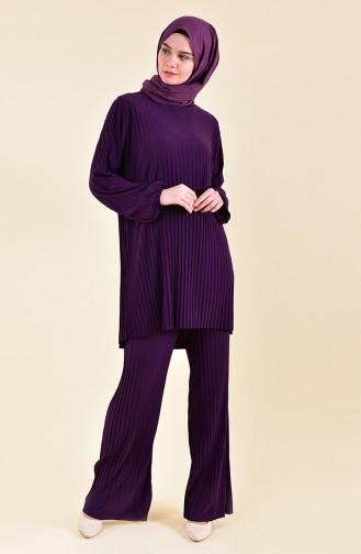 Piliseli Tunik Pantolon İkili Takım 189912-05 Mor 189912-05