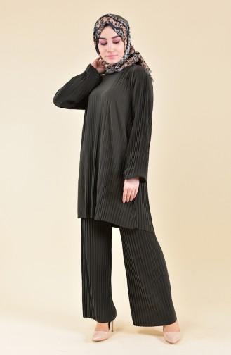 Pleated Tunic Pants Binary Suit 189912-07 Khaki 189912-07