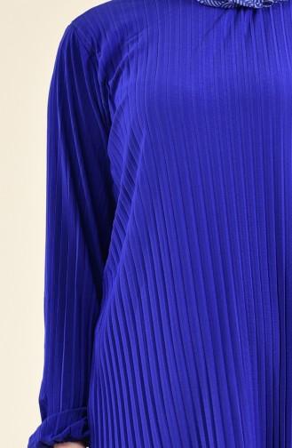 Ensemble Deux Pieces Tunique Pantalon Plissé 189912-08 Bleu Roi 189912-08