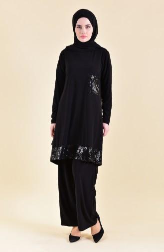 Sequined Sandy Suit 19461-09 Black 19461-09