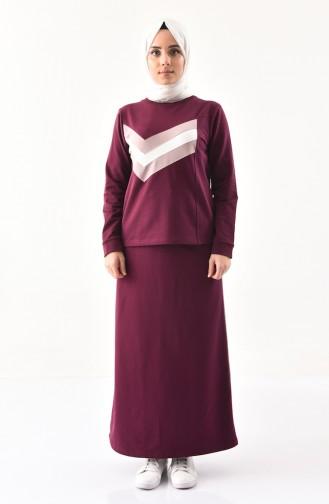 بي وست طقم تنورة وبلوز بتصميم مُخطط 8368-03 لون ارجواني 8368-03