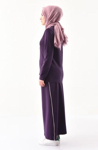 بي وست طقم تنورة وبلوز بتصميم مُخطط 8368-04 لون بنفسجي 8368-04