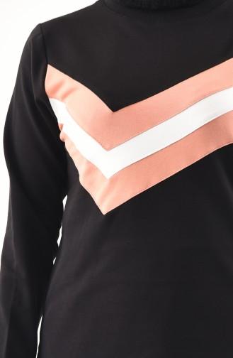BWEST Striped Blouse Skirt Double Suit 8368-05 Black 8368-05