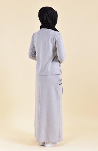 Baskılı Spor Bluz Etek İkili Takım 8386-02 Gri 8386-02