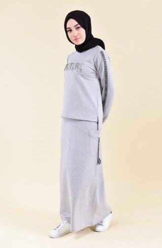 بي وست طقم بلوز وتنورة بتصميم مُطبع9016-02 لون رمادي 9016-02