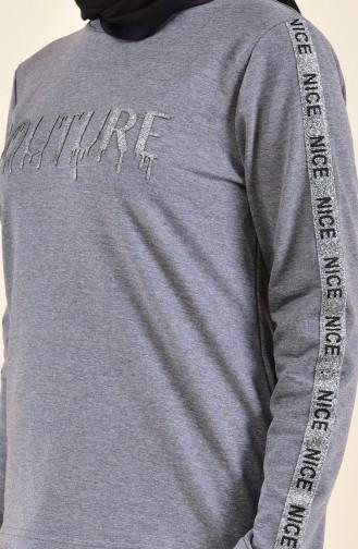 Baskılı Bluz Etek İkili Takım 9016-04 Antrasit