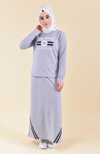 Baskılı Bluz Etek İkili Takım 9041-01 Gri 9041-01