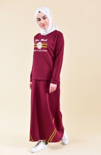 Baskılı Bluz Etek İkili Takım 9041-03 Bordo