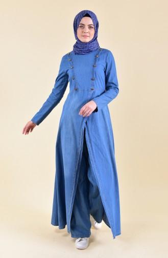 مس فالي  طقم جينز طويل تونيك وبنطال 8614-01 لون ازرق جينز 8614-01