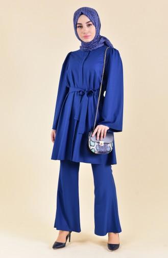 Kuşaklı Tunik Pantolon İkili Takım 0218-02 İndigo 0218-02