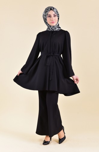 ZEN Belted Tunic Trousers Double Suit 0218-03 Black 0218-03