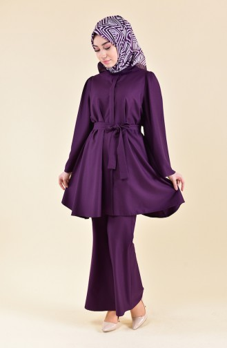 ZEN Belted Tunic Trousers Double Suit 0218-04 Purple 0218-04
