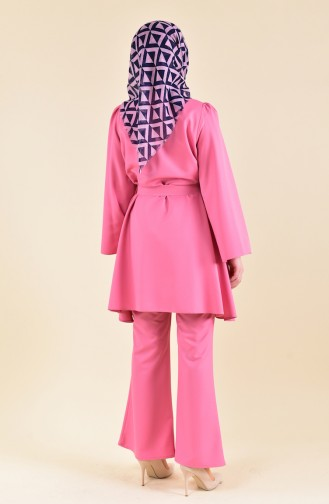 ZEN Belted Tunic Trousers Double Suit 0218-05 Dried Rose 0218-05