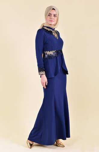 MISS VALLE  Sequined Evening Dress 8240-02 Navy 8240-02