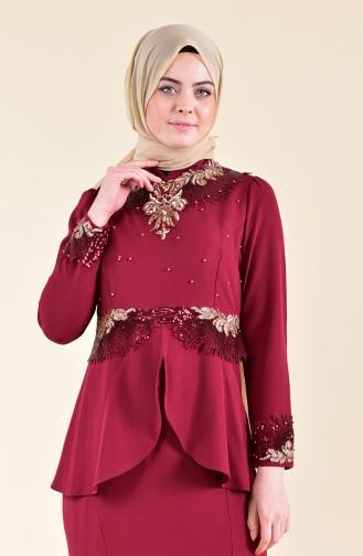 Payetli Abiye Elbise 8240-03 Bordo