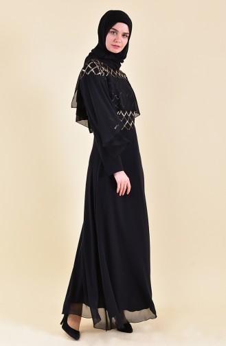 Sequined Evening Dress 3715-02 Black 3715-02