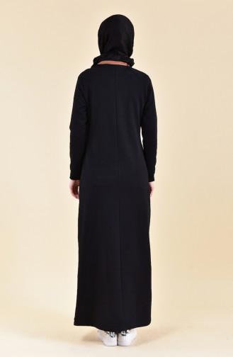 بي وست فستان رياضي بتصميم مخطط 8315-05 لون اسود واصفر داكن 8315-05